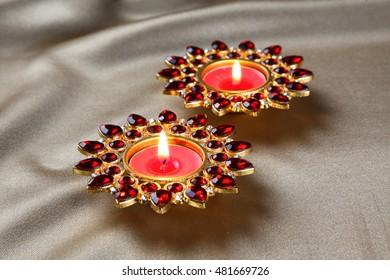 diya lamps lit during diwali celebration