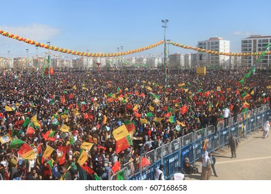 DIYARBAKIR - MARCH 21: Kurds celebrating their traditional feast Newroz that means 'new day' in kurdish on March 21, 2017 in Diyarbakir, Turkey
