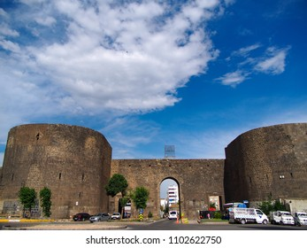 DIYARBAKIR, TURKEY - 01 MAY 2018: View of the Historical walls (Sur, Mardin gate), the central of Diyarbakir,