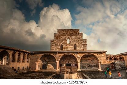 DIYARBAKIR, TURKEY - 05 DECEMBER 2018: View of the Mother Mary Assyrian Church, the central of Diyarbakir,