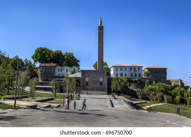 DIYARBAKIR, TURKEY - AUGUST 4, 2017: Hazreti Suleyman Mosque view from outside in Diyarbakir, Turkey