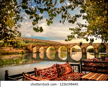 Diyarbakir, Turkey historic ten-eyed bridge view(on gozlu kopru)