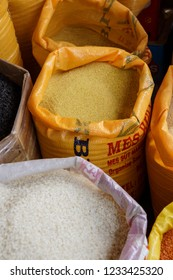DIYARBAKIR, TURKEY - JUN 9, 2014 -Sacks of bulgar wheat and coos coos in the market of  Diyarbakir, Turkey