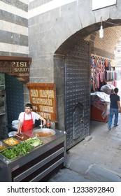 DIYARBAKIR, TURKEY - JUN 9, 2014 -Exterior view of the bazaar in  Diyarbakir, Turkey