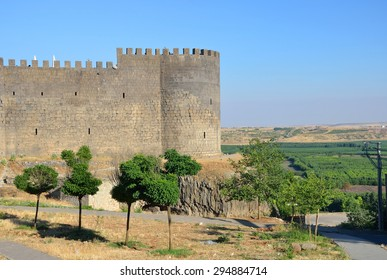 DIYARBAKIR, TURKEY - JUNE 24 2015: Diyarbakir's city walls were built by Constantius II and extended by Valentinian I between 367 and 375, stretch unbroken for about 5.8 kilometres.