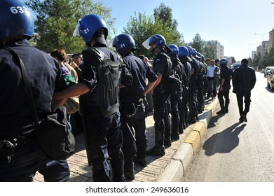 DIYARBAKIR, TURKEY - OCTOBER 18:  Security measures in front of the court where the trial of PKK on October 18.2010 in Diyarbakir, Turkey