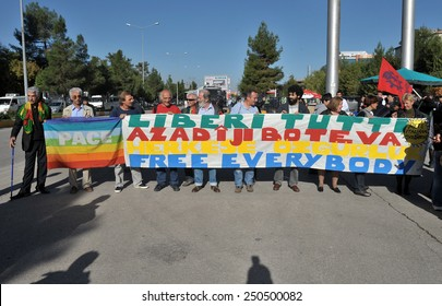 DIYARBAKIR, TURKEY - OCTOBER 19:  PKK was action to support the prisoners on October 19,2010 in Diyarbakir, Turkey