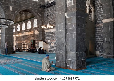 Diyarbakir/Turkey-05/02/2019: The Ulu Mosque/The Great Mosque of Diyarbakır is the oldest and one of the most significant mosques in Anatolia. People worshiping in the mosque.