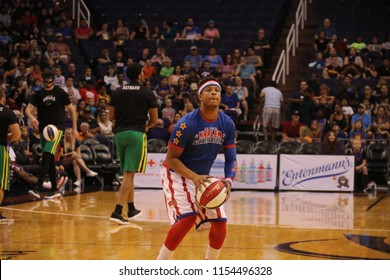 Dizzy guard for the Harlem Globetrotters at Talking Stick Resort Arena in Phoenix Arizona USA August 11,2018.