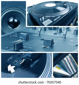 Dj equipment collage. Turntable, records and mixer parts