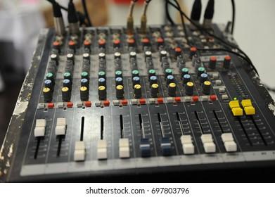 DJ equipment mixer close up