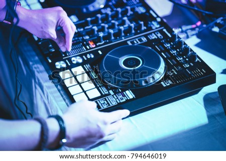 dj hands on stage mixing disc stock photo edit now 794646019
