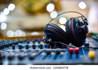 DJ headphones and DJ mixer.