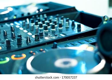 DJ mixer, close up blurred shot