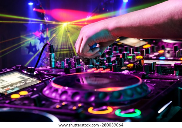 Dj Mixes Track Nightclub Party Background Stock Photo (Edit