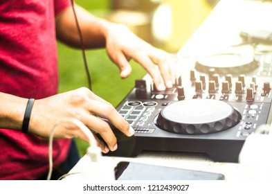 Dj mixing, Deejay playing music mixer audio outdoor - Concept of summer events and club outdoor