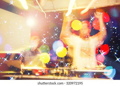 DJ Music night club,music star dj background,Disco party.Group of guys and girls dancing in the night club