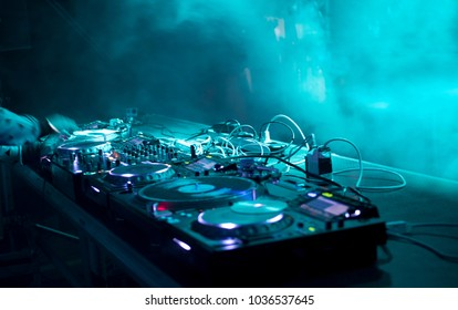 dj stand at a party