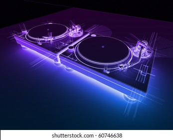 DJ Turntables Neon Sketch