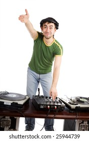 DJ at work on a white background