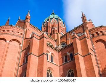 Djakovo, Croatia - June 17, 2017: St. Peter Cathedral in Djakovo, Slavonia region