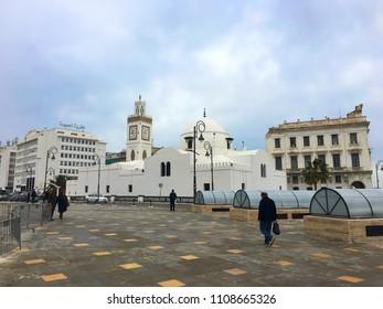 Djama'a al-Djedid (New Mosque), Algiers, Algeria - March 30, 2018: Ottoman architecture style mosque in city center.