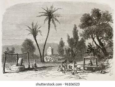 Djema-Sah-Ridj old view, Algeria. Created by Duhousset, published on Le Tour Du Monde, Paris, 1867
