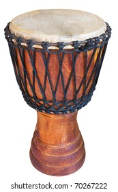 djembe, african percussion, handmade wooden drum with goat skin, ethnic musical instrument of carved wood and leather membrane, isolated with clipping path
