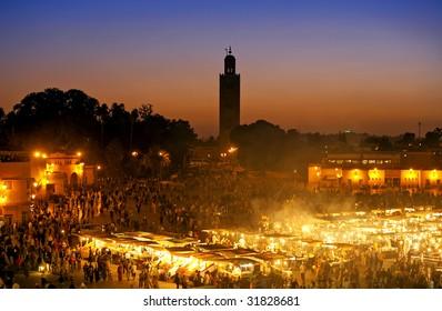 The Djemma el fna square in Marrakesh