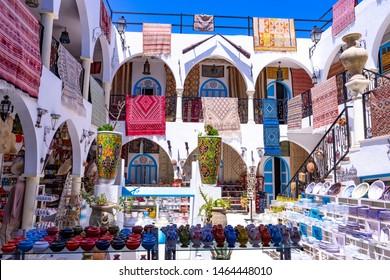 Djerba island. Houmt Souk. Tunisia. 06/20/2019. Souvenir shop for tourists in the medina