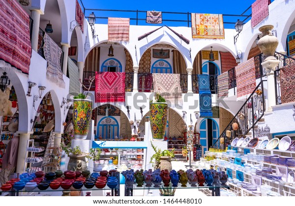 Djerba island. Houmt Souk. Tunisia. 06/20/2019. Souvenir shop for tourists in the medina