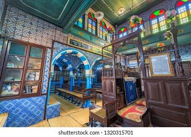 DJERBA, TUNISIA - APRIL 17: Interior of the historic La Ghriba Synagogue in Djerba, Tunisia on April 17, 2018