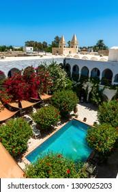 Djerba. Tunisia. (South Tunisia) Houmt Souk. 06/26/2014. Fondouk or caravanserai renovated luxury hotel