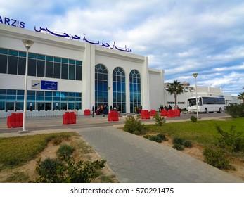 DJERBA/TUNISIA - JANUARY 7 2017: Djerba-Zarzis International Airport. North Africa