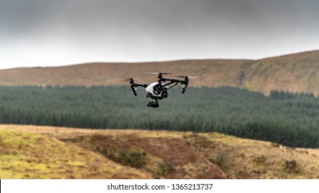 DJI Inspire 1 Pro flying in the Brecon Beacons