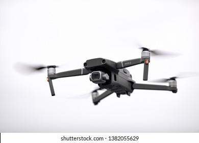 DJI Mavic 2 Pro in flight. DJI Mavic 2 Pro one of the most portable drones in the market, with Hasselblad camera. 21.03.2019 Rostov-on-Don, Russia