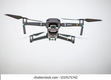 DJI Mavic 2 Pro in flight. DJI Mavic 2 Pro one of the most portable drones in the market, with Hasselblad camera. 01.10.2019. Frankfurt am Main Germany.