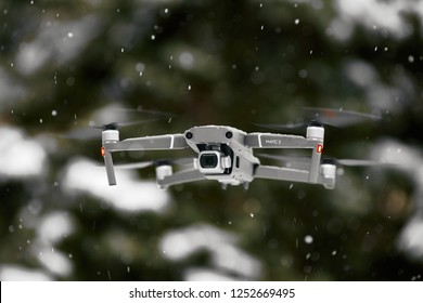 DJI Mavic 2 Pro, flying in wet snow conditions. DJI Mavic 2 Pro one of the most portable drones in the market, with Hasselblad camera. 07.12.2018 Rostov-on-Don, Russia