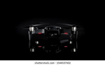 DJI MAVIC AIR on black background. compact drone by DJI. 08.06.2019, Rostov region, Russia.