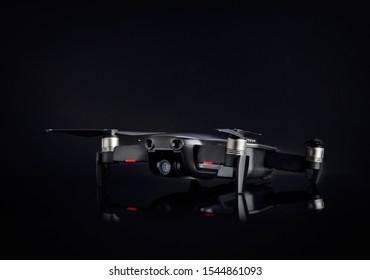 DJI MAVIC AIR on black background. Popular compact quadcopter by DJI. 08.06.2019, Rostov region, Russia.