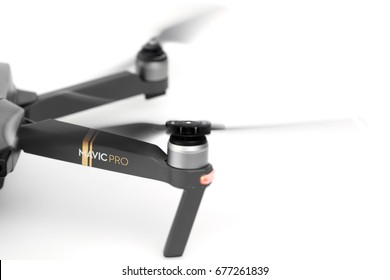 DJI Mavic Pro drone in flight, on white background. One of the most portable drones in the market. Side view. View on the drones gimbal and camera. 11.07.201, 7Rostov-on-Don. Russia.