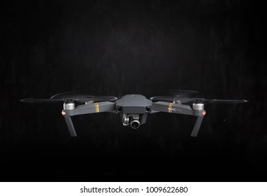 DJI Mavic Pro drone - Flying in the dark, on black background. Closeup on dark. One of the most portable drones in the market. View on the drones gimbal and camera. 11.07.2017 Rostov-on-Don. Russia.