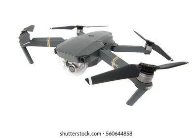 DJI Mavic Pro drone: Latvia JANUARY 20, 2017. Closeup,on white background. One of the most portable drones in the market,with 4k ultra hd. Side view.