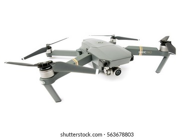 DJI Mavic Pro drone: Latvia JANUARY 20, 2017. Closeup,on white background. One of the most portable drones in the market,with 4k ultra hd. Side view. View on the drones gimbal and camera.