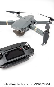 DJI Mavic Pro drone: Riga, Latvia DECEMBER 9,2016. One of the first DJI Mavic Pro drones shipped to Europe. Closeup, on white background. One of the most portable drones in the market,with 4k ultra hd