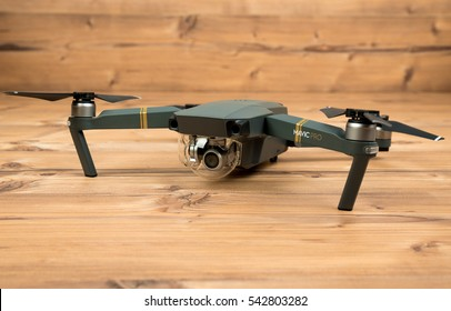 DJI Mavic Pro drone: Riga,Latvia DECEMBER 25,2016. One of the first DJI Mavic Pro drones shipped to Europe. Closeup,on wooden background.