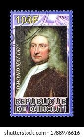 DJIBOUTI - CIRCA 2010 : Cancelled postage stamp printed by Djibouti, that shows Edmond Halley, circa 2010.