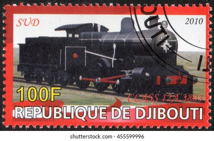 """DJIBOUTI - CIRCA 2010: A post stamp printed in Djibouti shows a series of images """"History of rail transport"""", circa 2010"""