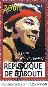 DJIBOUTI - CIRCA 2011: A postage stamp printed in the Republic of Djibouti showing Bruce Frederick Joseph Springsteen, circa 2011