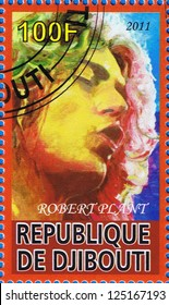 DJIBOUTI - CIRCA 2011: A postage stamp printed in the Republic of Djibouti showing Robert Plant, circa 2011